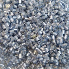 Mini tube facetté 2 mm gris cœur argent