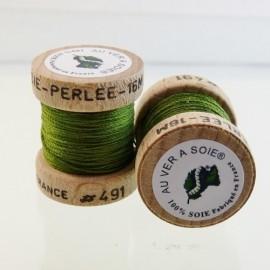 Perlé silk olive green Au ver à Soie n° 491