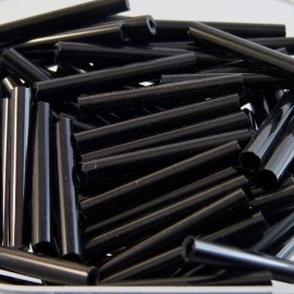 Round bugle bead 20 mm shiny black