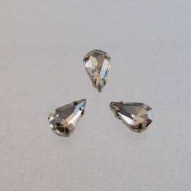 Sew on rhinestone drop smoked cristal 10 mm