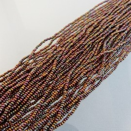 Seed bead 2 mm metallic iridescent brown on strand