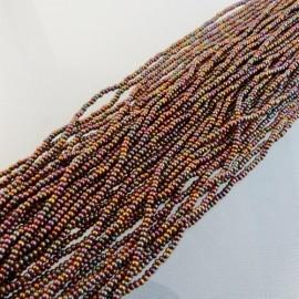 Seed bead 2 mm metallic iridescent brown on strand