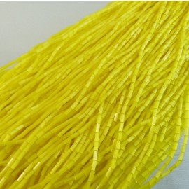Bugle beads 4 mm yellow satin on strand