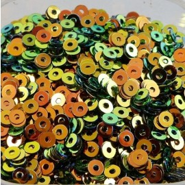 Flat sequin 3 mm orange and green