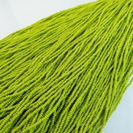 Seed bead 2 mm olive green on strand