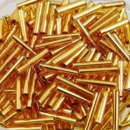 Antic bugle bead 12 x 2 mm yellow gold