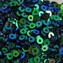 Flat sequin 2 mm iridescent green blue
