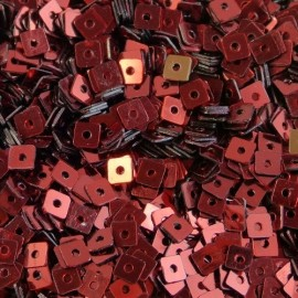 Square flat sequin 4 mm metallic dark red