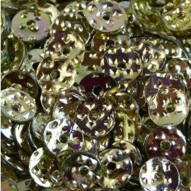 Flat sequin hammered gold color changing 5 mm