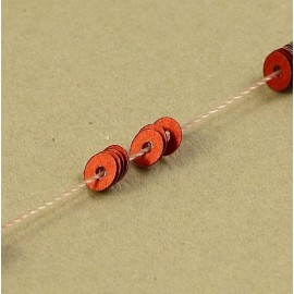 Flat sequin 3 mm metallic red on strand