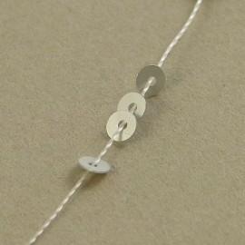 Flat sequin 3 mm metallic matt silver on strand
