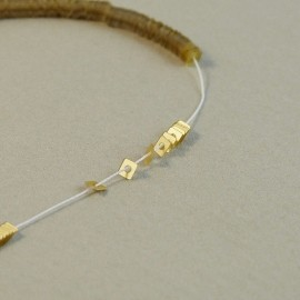 Square flat sequin 2 mm metallic matt light gold on strand