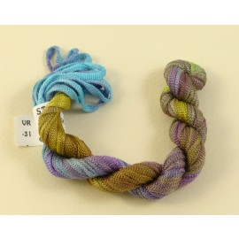 Viscose ribbon 4 mm blue green and purple