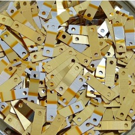 Rectangular sequin metallic gold and silver 9 x 2,5 mm