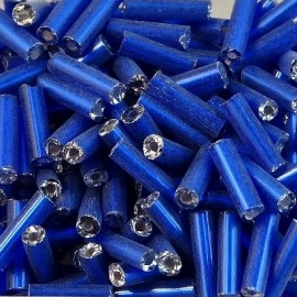 Round bugle bead 6 mm S/L royal blue