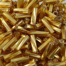 Twist bugle bead 6 mm metallic gold