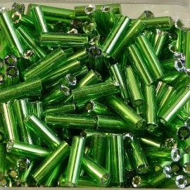 Round bugle bead 6 mm S/L green